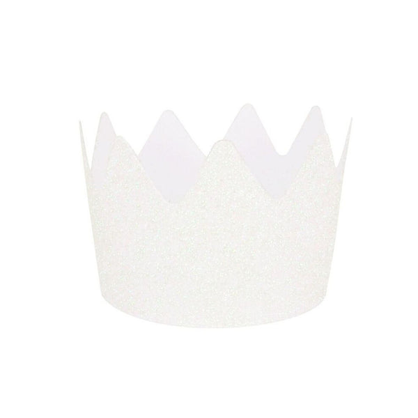 White Glitter Crowns (8 Pack)