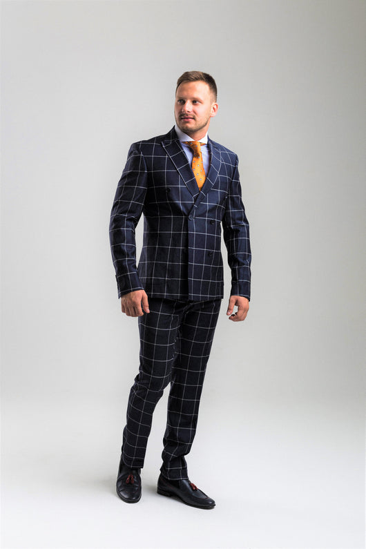 cfbfee2a1d5f1 Navy Blue Windowpane Check Double-breasted Suit – Konfidenz