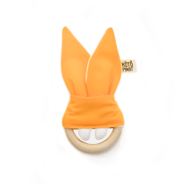Natural wood teething bunny | Mustard yellow - KotoPinat
