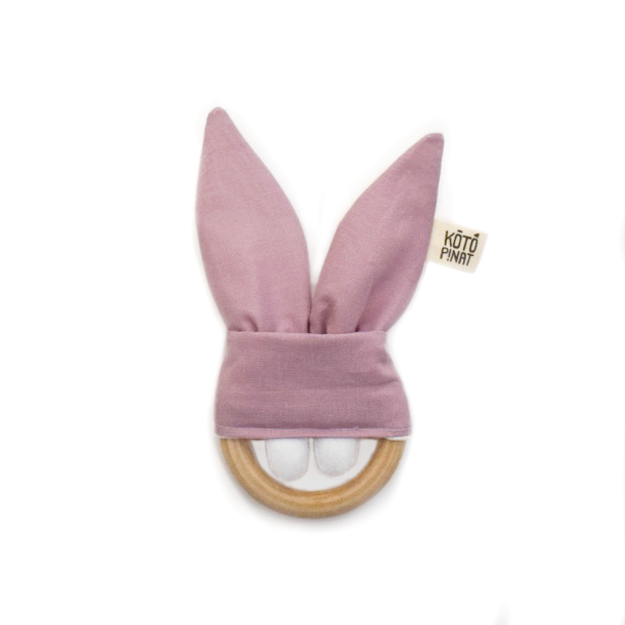 Natural wood teething bunny | Pale pink - KotoPinat
