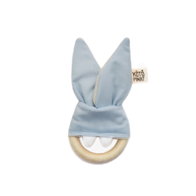 Natural wood teething bunny | Sky blue - KotoPinat
