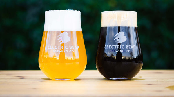 Our stout and IPA in Lawrence glasses