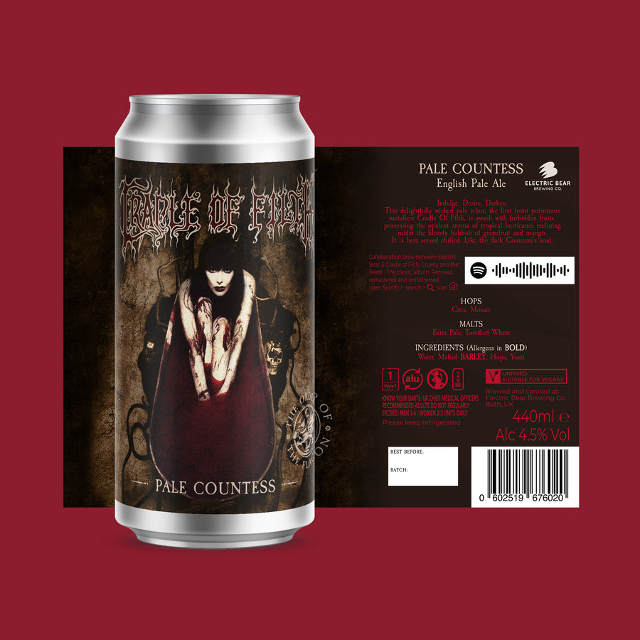 Pale Countess 440ML single can. cradle of filth beer.