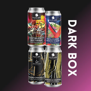 Dark Box, 12 x 440ml of 4 different dark beers including Stouts and Porters. Electric Bear Brewing Bath