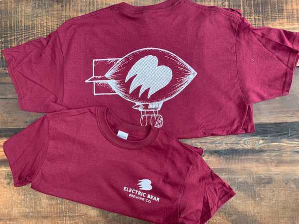 Blimp Logo Tee (Unisex) - Burgundy with White logos