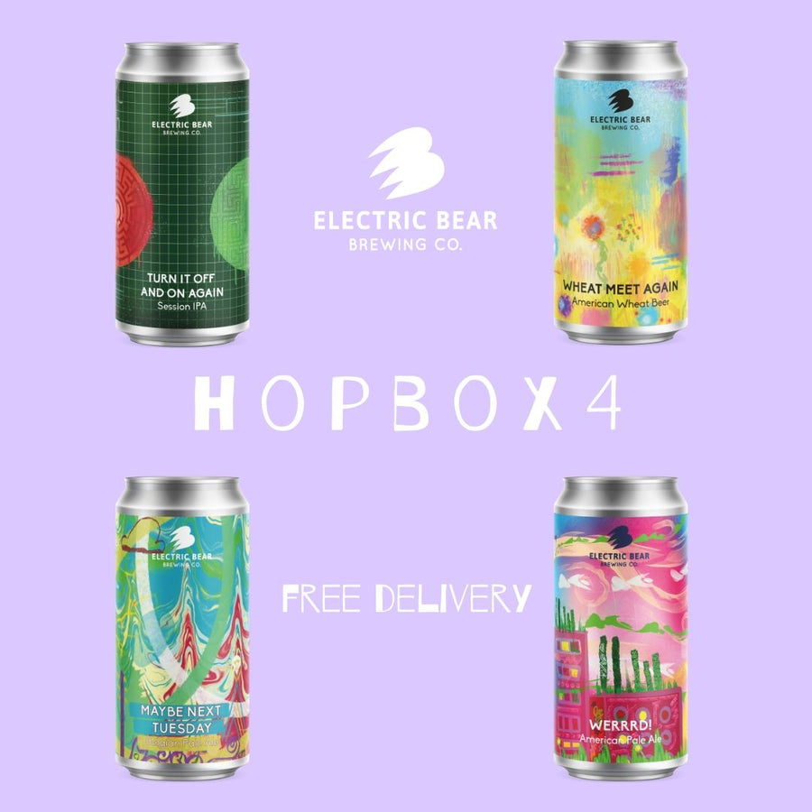 Hopbox 4 - Free delivery on 12x440ml cans of FOUR of our hop-forward brews: an IPA, a hoppy wheat, an American Pale and a Belgian Pale
