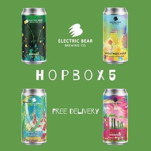 Hopbox 5 - Free delivery on 12x440ml cans of FOUR of our hop-forward brews: a Gluten Free Pale, a Hoppy Wheat, an American Pale and a Belgian Pale