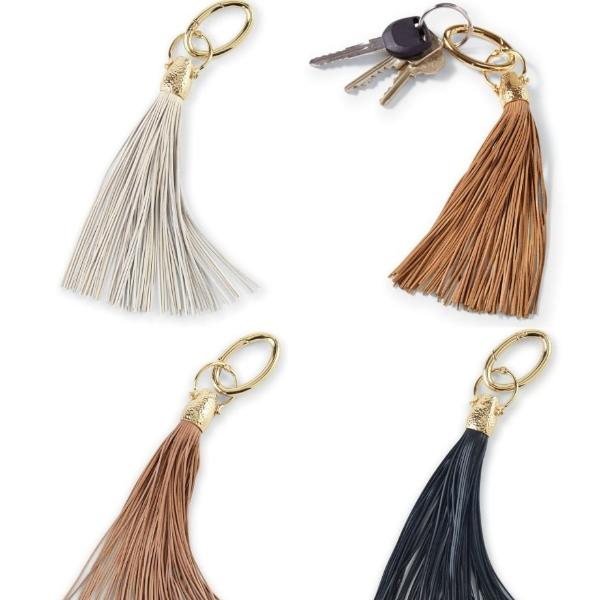 Mud Pie Leather Tassel Key Chain in Black, Tan or Oyster