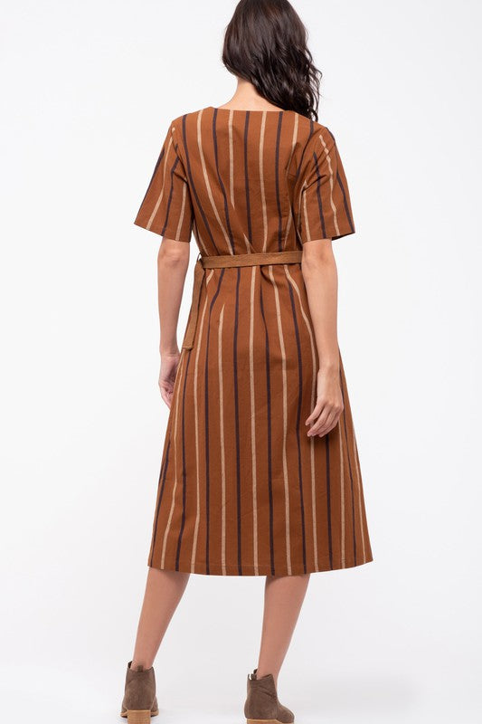 Joanna Striped Dress in Camel