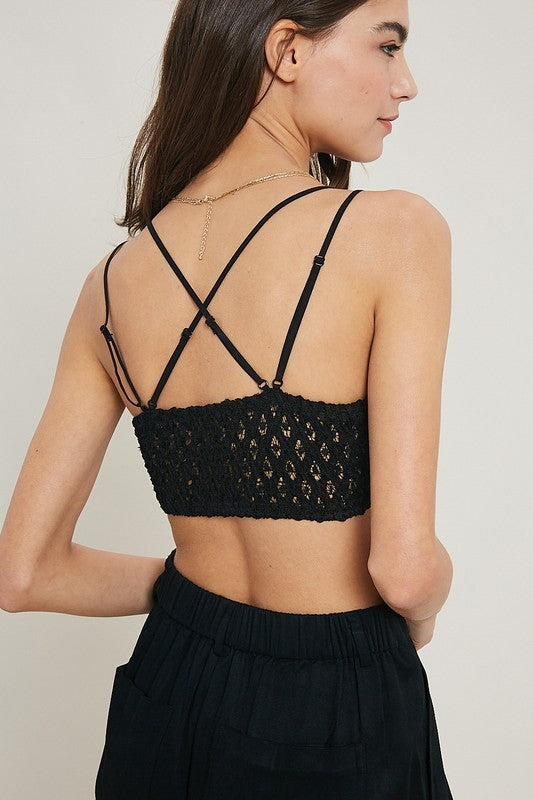 Double Strap Scalloped Lace Bralette in Black