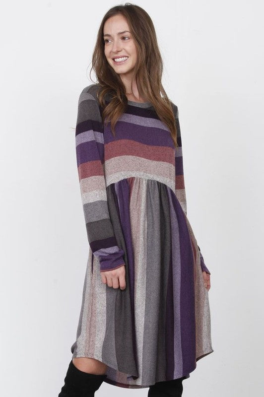 Daisey Striped Midi Dress in Purple