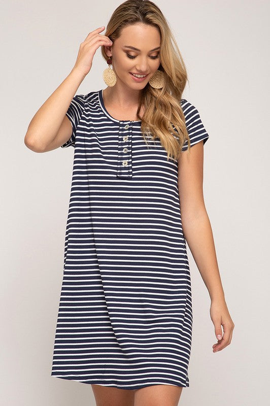 Remington Knit Dress in Navy