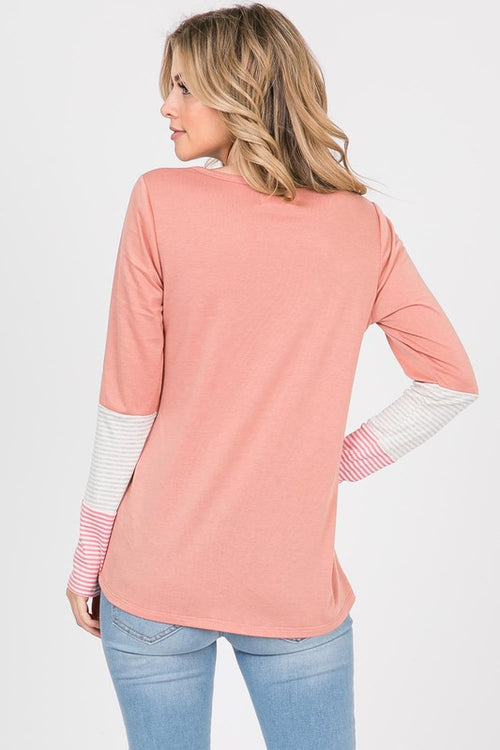 Amelia Contrast Sleeve Top in Coral