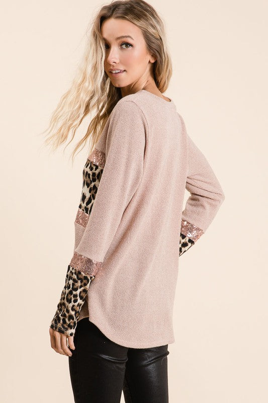 Allison Sweater Knit Top in Blush
