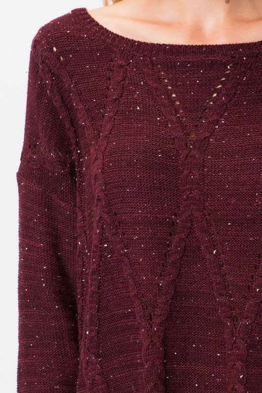 Emmie Cable Knit Sweater In Burgundy Spruced Boutique