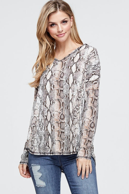 Iris Snakeskin Top in Brown