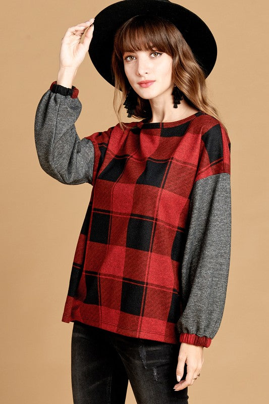 Pippa Buffalo Plaid Top in Red