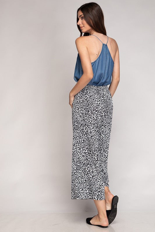 Lily Leopard Print Wide Leg Pant in Black