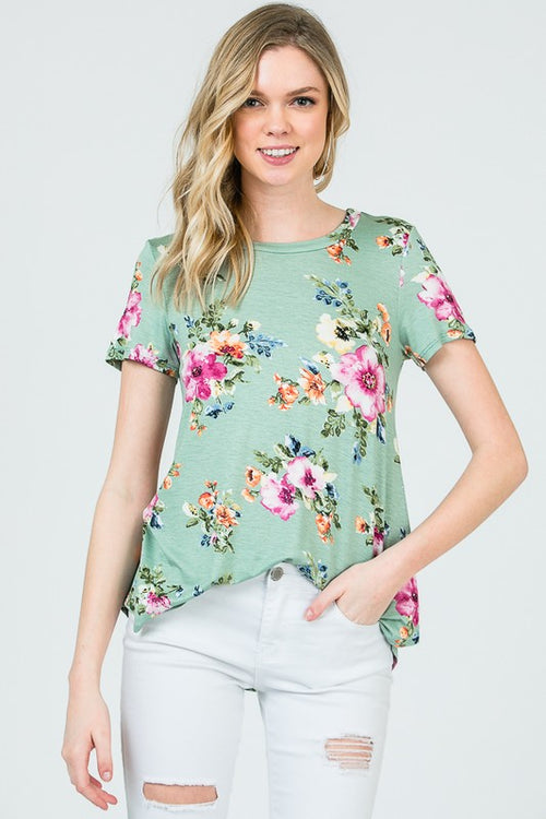 Danielle Floral Top in Sage