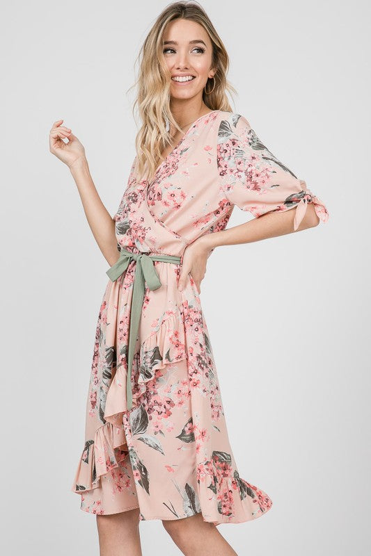 Audrey Floral Dress in Blush
