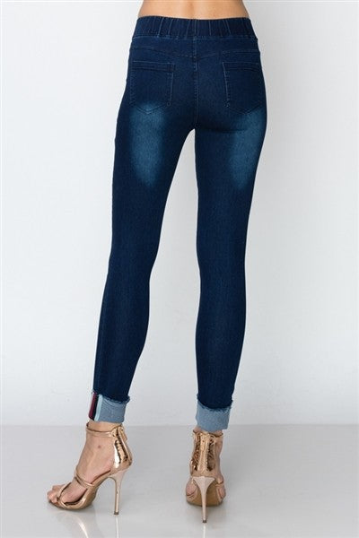 Roxy Distressed Jeggings in Dark Denim