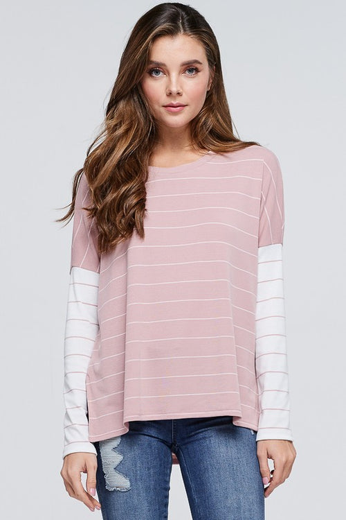 Tessa Striped Top in Dusty Pink