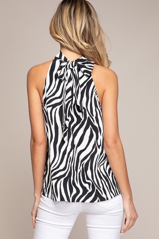 Maelynn Zebra Halter Top in Black