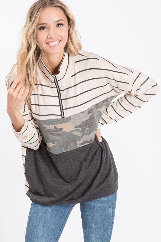 Moriah Pull Over Top in Charcoal