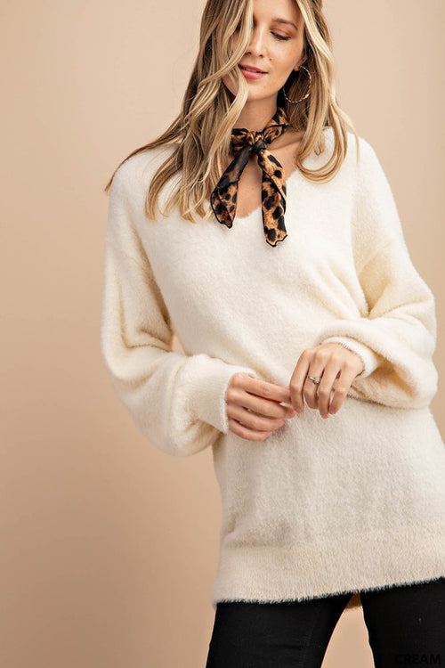 Janelle Soft Fur Pullover in Cream