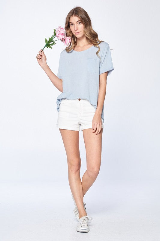 Cammie Not So Basic Tee in Dusty Blue