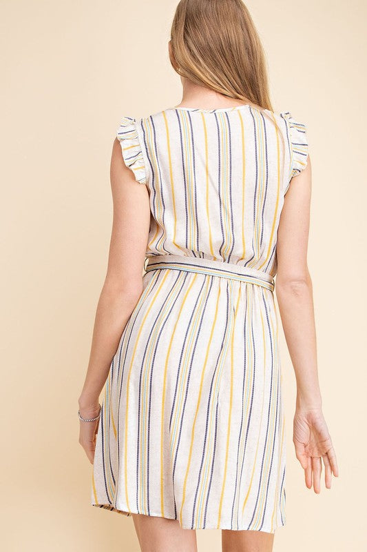 Mabel Vertical Stripe Dress in Neutral