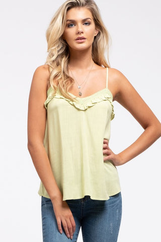 Tyra Battenburg Lace Sleeve Top in Sage
