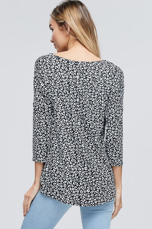 Rebecca Cheetah Print Top in Black
