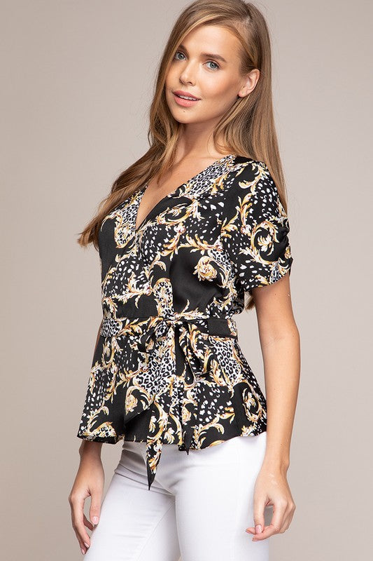 Audrey Printed Top in Black