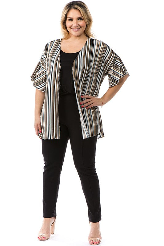 Halee Cardigan in Gray Stripe