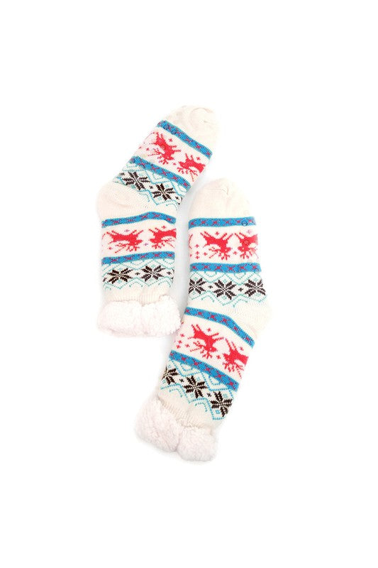 Selena Sherpa Camp Socks in White Reindeer