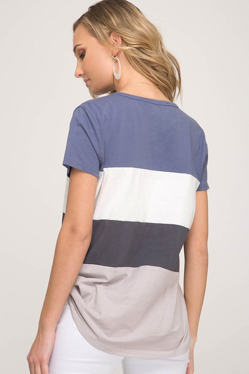 Paige Color Block Top in Blue and Gray