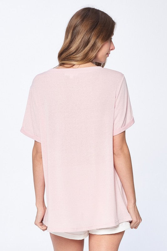 Cammie Not So Basic Tee in Dusty Pink