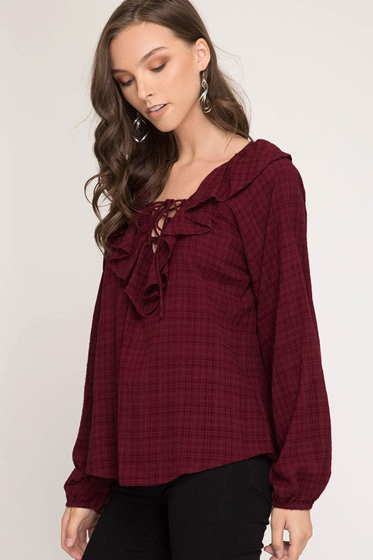 Tiffany Ruffle Neck Top in Burgundy