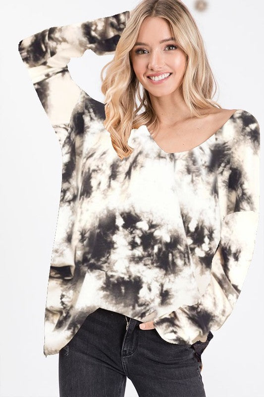 Cheyenne Tie Dye Top in Charcoal