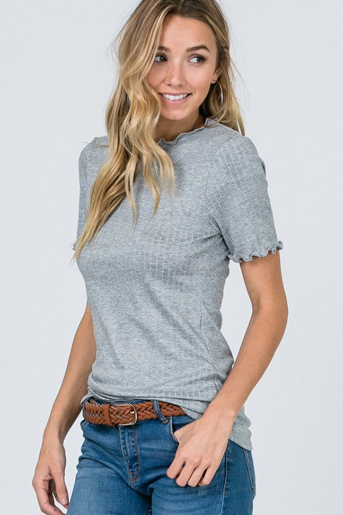 Melanie Ribbed Top in Gray