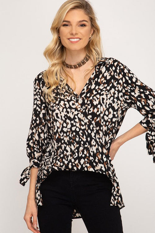Jasmine Leopard Print Top in Black