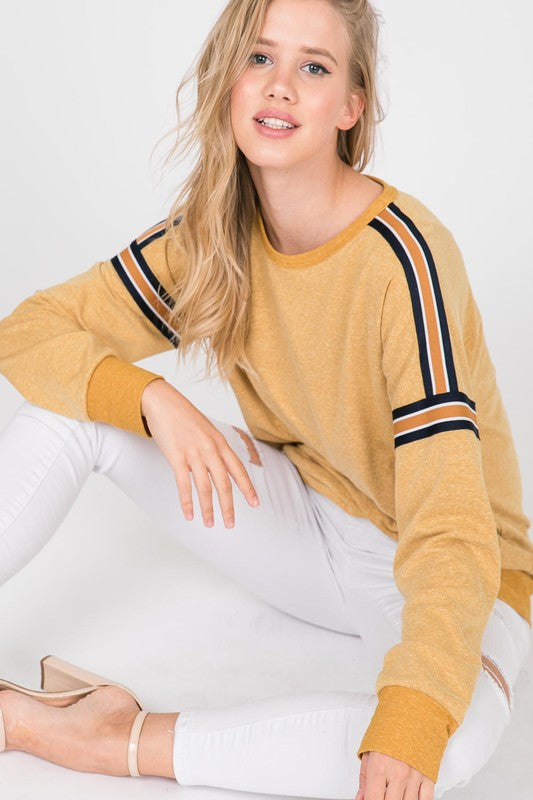 Kiana Varsity Stripe Top in Golden
