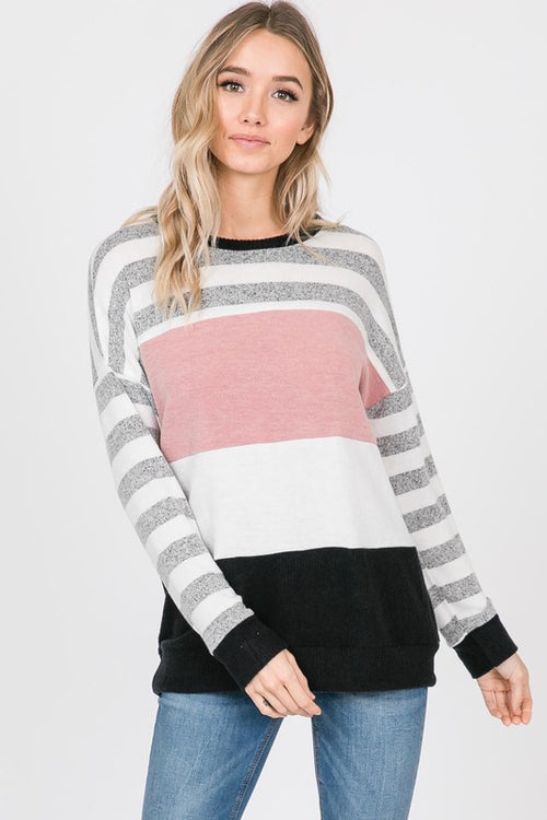 Bristol Hacci Knit Top in Blush