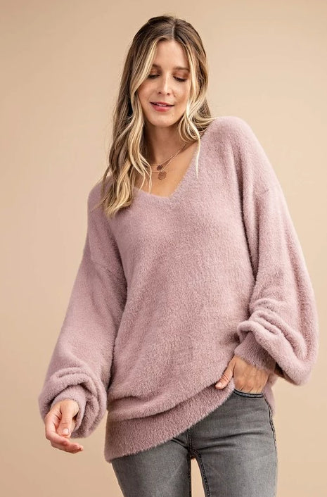 Janelle Soft Fur Pullover in Mauve