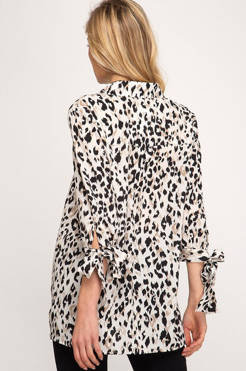 Jasmine Leopard Print Top in Cream