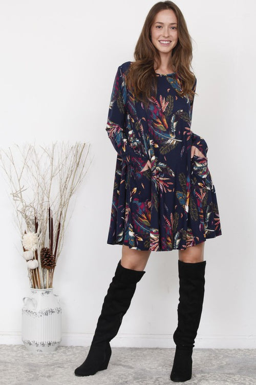 Delia Feather Print Dress in Navy