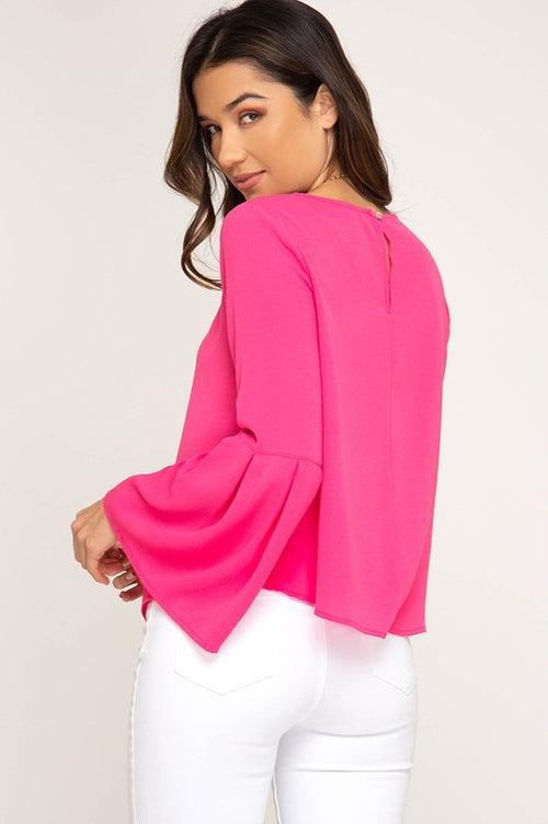 Delilah Bell Sleeve Top in Hot Pink