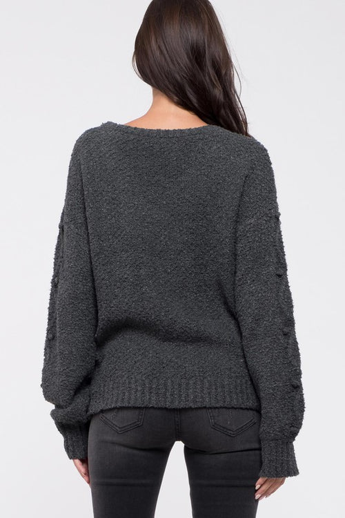 Marley Cable Knit Sweater in Charcoal