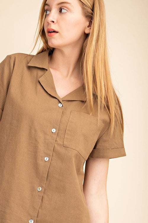 Gracie Button Down Top in Moss
